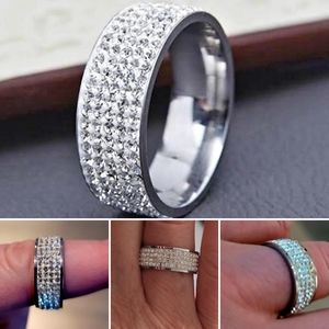 Milor Crystal Stainless Steel Band Ring
